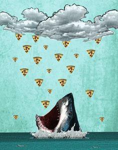 raining pizza.... aleluya!