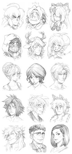 150914 - Headshot Commissions Sketch Dump 3 by Runshin.deviantart.com on @DeviantArt