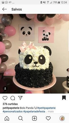 Cute Realistic Animal Cake Ideas - Page 2 of 4 - Vida Joven Panda Themed Party, Panda Party, Panda Birthday Cake, Girl Birthday, Bolo Panda, Panda Cakes, Panda Bear Cake, Panda Baby Showers, Panda Bebe