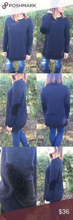 Navy knit tops Navy knit top has elbow patch and hem trimmed in black....has side slots...96% polyester 4% spandex - price is firm✔️ Tops