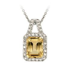 Glitzy Rocks Sterling Silver Citrine and Diamond Accent Necklace | Overstock.com