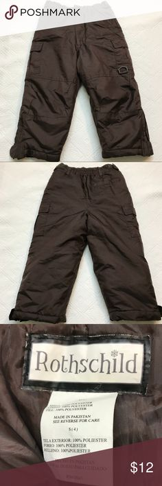 Youth Snow Pants Size 4 Winter Boys Girls Rothschild size 4 snow pants to play in the snow. Brown, Unisex.  Has a few minor tears inside but nothing that affects function.  Adjustable Velcro to cinch in waist  Zipper and snap at waist and zipper and fastening at ankles all work great Nice for casual winter play  Bundle and save! Rothschild Bottoms