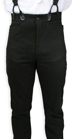 Victorian Mens Black Cotton Solid Dress Pants | Dickens | Downton Abbey | Edwardian || Livingston Black Brushed Cotton Trousers