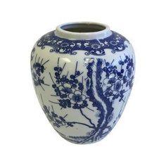 Vintage Blue & White Cherry Blossom Vase