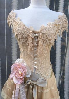 Lace CorsetVictorian Cottage Chic Lace TopCountry by KisKissay, $75.00