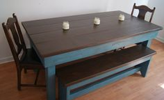 This table is a well made distressed farm style table. Our Farm Table is made from new natural materials and is finished with only water based materials. All connections have been glued together to make a very sturdy piece. However the legs can be removed is needed. Comes with 2 matching benches that will nest under the table.