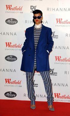 Rihanna Wears Men's Fashion in London:  Too many stripes