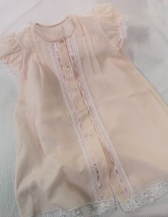 "Dot's ""Splendid Shell Pink"" Daygown Baby Girl Dresses, Girl Outfits, Doll Dresses, Baby Girls, Baby Gown, Christening Gowns, Heirloom Sewing, Fabric Online, Baby Sewing"