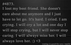 Friendship Quotes QUOTATION - Image : Quotes about Friendship - Description I hurt her in the most inexcusable way, the damage is done and I only have myself to blame. I miss her Losing Best Friend Quotes, Best Friend Breakup Quotes, Losing You Quotes, Losing Your Best Friend, Quotes About Moving On From Friends, Miss My Best Friend, Bff Quotes, Bestfriend Breakup, Lost A Friend Quote