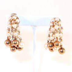 Vintage Pearl Dangle Earrings $46 FripperyVintage.com