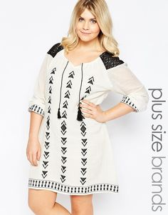 02c92722262e Plus Size Tunic Dress With Crochet And Embroidered Detail Plus Size Tunic  Dress