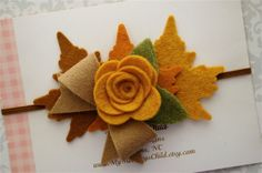 Fall Felt Flower Headband  Fall Baby Headband  by MyMondaysChild