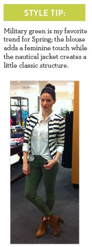 Jen, Personal Stylist from Nordstrom Fashion Place's pick: Military Green #Spring #Fashion