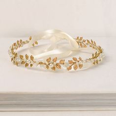Wreath Hair Piece, Gold Headband, Beaded Head Wrap, Metal Leaf Crown, Bridal Hair Decoration, Pearl and Crystal Wedding Head Piece The beauty of