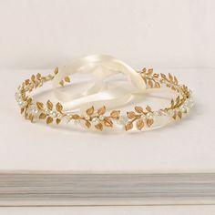 Wreath Hair Piece, Gold Bridal Headband, Beaded Laurel Leaf Headpiece, Gold Leaf…