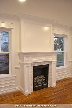 Fireplace Molding, Craftsman Fireplace, Fireplace Update, White Fireplace, Fireplace Remodel, Fireplace Wall, Fireplace Surrounds, Fireplace Design, Painted Fireplace Mantels