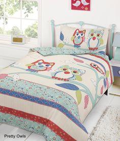 Designed by DEBORAH WILLMINGTON DESIGNS - Dreamscene Beige Blue Owls Children Duvet Quilt Cover Pillow Case Bedding Set Single Size: Amazon.co.uk: Kitchen & Home