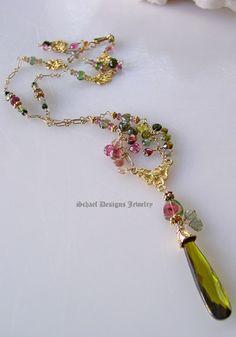 ~~Shaded & watermelon tourmalines on 22kt gold vermeil chain with deep green cz pendant   Schaef Designs gemstone jewelry~~