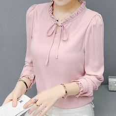 Fashion Korean Women Chiffon Shirt Long Sleeve Lace Collar Career Ol Blouse Tops