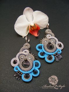 Z Style: Cercei soutache Types Of Embroidery, Beaded Embroidery, Boho Jewelry, Women Jewelry, Soutache Necklace, Shibori, Ring Earrings, Jewelry Making, Jewels