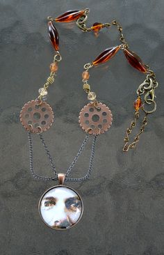 Noah and the Gears Necklace by LincolnStreetDesign on Etsy