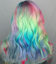 Pastel mint blue green purple lilac violet lavender pink colormelt for wavy medium length hair