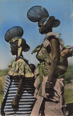 Africa | Young women from Fouta Djallon. Central Guinea. ca. 1955 || Scanned old postcard; published by Hoa - Qui.