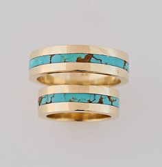 gold and turquoise wedding rings, gold and turquoise wedding bands, turquoise wedding rings, gold and turquoise engagement ring, Turquoise Wedding Rings, Diamond Wedding Rings, Turquoise Jewelry, Wedding Jewelry, Engagement Rings, Wedding Engagement, Wedding Set, Wedding Veils, Blue Wedding