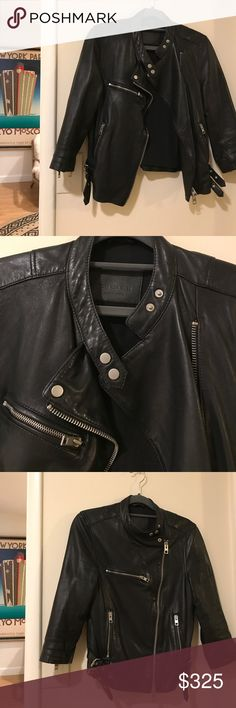 All Saints cropped leather Moto jacket motorcycle Size 6 in great shape! All Saints Jackets & Coats