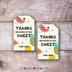 Tutti Frutti Thank You Tags Fruit Birthday Favors Party Ice Cream Cone Editable Printable Digital