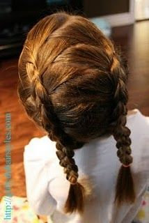Now that's a new idea on a double french braid. I might have to try it on E when her hair gets longer. Little Girl Hairstyles, Pretty Hairstyles, Braided Hairstyles, Style Hairstyle, Girly Hairstyles, Looks Cool, Hair Dos, Hair Hacks, Her Hair
