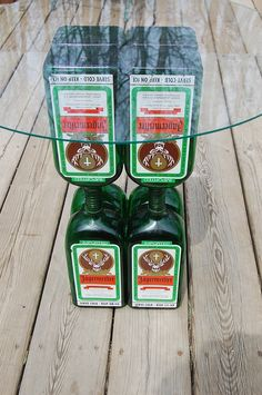 Jagermeister Glass Top Table-Liquor Bottle-Recycled Green Bottles-Lounge-Bar-Man Cave-Cabin-Hunting Camp. $75.00, via Etsy.