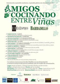 """Once cocineros innovadores, la mayoría de ellos de Cádiz y que se han agrupado bajo el nombre de """"la liga del Sur"""" celebrarán de una manera muy peculiar la vendimia. Recogerán uvas en el campo y luego ofrecerán, por la noche, una comida conjunta en el gastrobar El Espejo de Sanlúcar donde el protagonista será el vino. Todos los detalles en Cosasdecome. http://www.cosasdecome.es/sin-categora/lunes-9-de-septiembre-la-vendimia-vista-con-22-ojos/"""