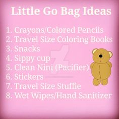 Little Go Bag ideas for DDLG, CGL, DDLB, MDLB, and MDLG relationship!   Here are some great Little Go Bag ideas! These bags will come in handy whenever a Little and Caregiver have to go somewhere for a long period of time! Whether it be an amusement park, zoo, or just a day out of the house, these will be life savers! Below I'll list the crucial things you will need in your go bag