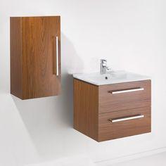 MILO 700mm Wall Hung Walnut Basin Vanity Unit + Side Cabinet