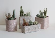 Concrete terrazzo planter collection by Sharon Leisinger of Isle of Ease, Singapore. www.isleofease.net, info@isleofease.com Indoor Planters, Diy Planters, Planter Boxes, Interior Design Plants, Plant Design, Cement Pots, Concrete Planters, Pottery Designs, Pottery Art
