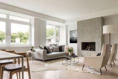 aménagement et décoration du salon design en gris et crème