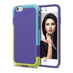 Capa protetora Iphone roxa com detalhes azul claro e verde claro