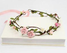 ON SALE Blush Flower Crown \ Pink Rose Headband Bridal Floral Crown Wedding Circlet Flower Hair Wreath Flower Crown Adult READY