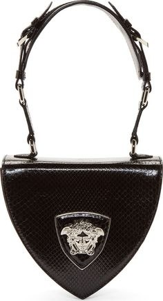 Versace Black Python Leather Silver Medusa Shoulder Bag | FW 2014 | cynthia reccord