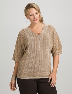 Plus Size Striped V-Neck Dolman Sweater | Dressbarn