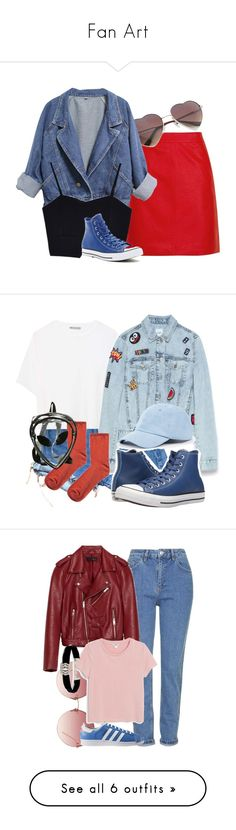 """""""Fan Art"""" by blueangel16-001 ❤ liked on Polyvore featuring Topshop, Converse, Levi's, Vince, Zara, Sole Society, Linda Farrow, Monki, adidas and Kenneth Jay Lane"""