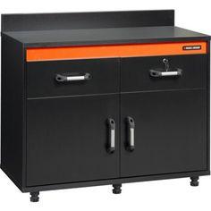 Black & Decker Hitch Cap 2-Drawer/2-Door Base Cabinet, 41-1/8 inchW x 19-3/4 inchD x 32-3/4 inchH, Black Laminate Finish, Orange