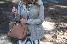 Outfit | Stripe Shirt Dress and Cognac Anorak with Tory Burch Robinson