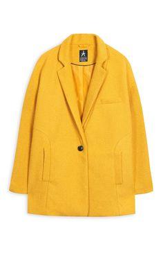 Mustard Textured Short Coat