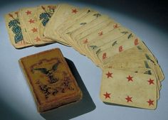 Playing Cards This patriotic deck of cards was owned by Assistant Surgeon Platte Bruner of the 104th Pennsylvania Infantry.  Paper. L 10 cm, W 7 cm. Gettysburg National Military Park, GETT 26941