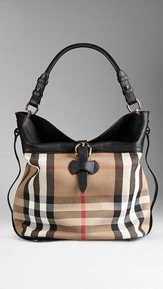 Medium Buckle Detail House Check Hobo Bag | Burberry