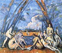 Paul Cézanne - Las grandes bañistas, 1906, Philadelphia Museum of Art: el triunfo del equilibrio geométrico y la estabilidad a la manera de Poussin.