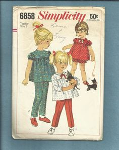 Vintage 1965 Simplicity 6858 Sweet Puff Sleeve Tops with Tapered Leg Pants & Bloomers for Wee Little Girls Size 1