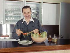 Walt Disney tossing a salad in his brand new Walt Disney Studios in the 1940s.